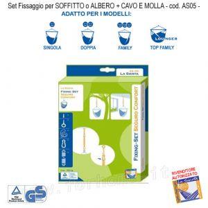 Fissaggio Per Amache Sospese Pensili Kit Per Soffitto O Albero + Cavo E Molla As05