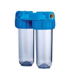 """Contenitore Vessel ForHome® Duplex Per 2 Filtri Sedimenti Da 10"""" In/Out 3/4"""" Ottone Col. Trasparente"""