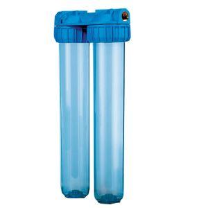 """Contenitore ForHome® Vessel Duplex Per 2 Filtri Sedimenti Da 20"""" In/Out 3/4"""" Ottone Col. Trasparente"""