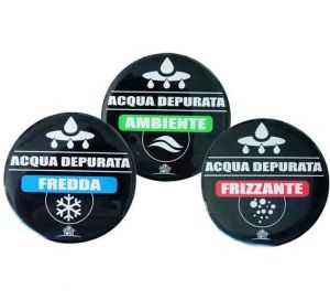 Set 3 Etichette ForHome® Adesive Resinate Acqua Fredda / Frizzante / Ambiente Per Medaglione Colonna Spillatore Cobra.
