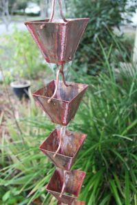 Rain Chain Antique Copper Cup - fluidibilità 5/5 - Square Cups - KIT Complete Chain - (21)