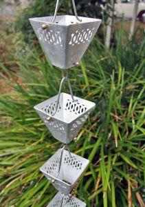Catena Per Pioggia A Coppa Alluminio Per Grondaia ForHome® - Fluidibilità 3,5/5 - Kit Catena Completa - (16)