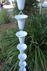 Rain Chain  in White Aluminum Cup - fluidibilità 3.5 / 5 - Cross Bell WT - KIT Complete Chain - (19)