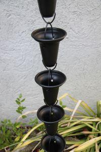 Catena Per Pioggia A Coppa Alluminio Nera Per Grondaia ForHome® - Fluidibilità 3,5/5 - Kit Catena Completa - (19)