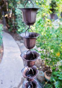Rain chain cup Iron Bronzed - fluidibilità 4.5 / 5 - Bronze Iron Flower - KIT Complete Chain - (22)