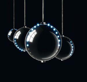 Chain SET 4 BALLS SILVER 2 Files LED Ball Effect Cascade diamentro Spheres 8cm
