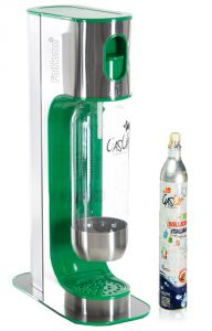 Gasatore Acqua Gas-Up Italia Iron Green + 1 Bott. Da 1Lt + 1 Bombola Co2 Da 450Gr - Verde