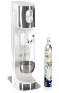 Gasatore Acqua Gas-Up Italia Iron White + 1 Bott. Da 1Lt + 1 Bombola Co2 Da 450Gr - Bianco