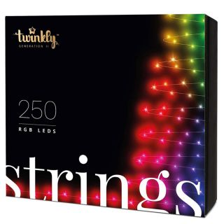TWINKLY Christmas Lights RGB LED BT + Wifi Controllable and Customizable with APP SMARTPHONE KIT 250 LED Prolongable