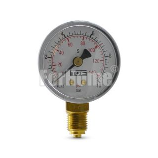 Co2 pressure gauge Ø50-Scale BAR and PSI-Full scale 10 BAR-Notch 7 BAR for cod. 01012002-02 (or)