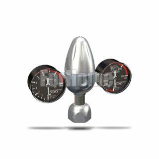 """Riduttore di pressione Co2 per bombole ricaricabili 21.8x1/14"""" (2 manometri) SR-02 ADV  (or)"""
