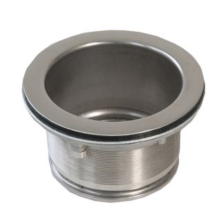 Elongated drain stainless steel adapter for waste grinder ZeroTrash ForHome® sink for ceramic type sinks,..