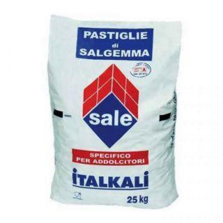 Sale in Pastiglie per Addolcitori Acqua Depuratori Salgemma Naturale Italiano Italkali Sacco 25KG.