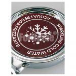 Adesivo per medaglione 70x70 mm - acqua fredda/frizzante (or)
