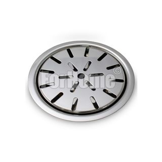 Round drip tray for polished stainless steel columns - Ø 120mm. - with built-in grill