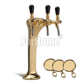 Column for tapping beer or purified water forHome Cobra Palmer 3-way brass Complete with: taps, medallions
