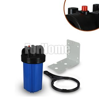 """BIG Container for Water Filter 10 """"In / Out 3/4"""" Col. Blue with pressure release button + key and bracket"""