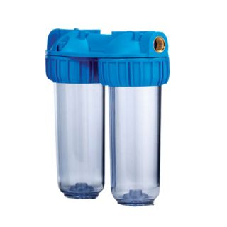 """Double Container for 2 Water Filters 10 """"In / Out 3/4"""" Brass Col. Opaque"""