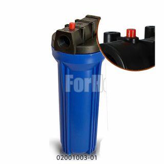 """Contenitore per Filtro Acqua da 10"""" In/Out 3/4"""" Col. Blue con pulsante di rilascio pressione (or)"""