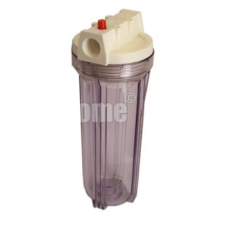"""Water Filter Container 10 """"In / Out 3/4"""" Col. Transparent with pressure release button"""