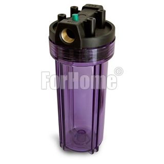 """Water Filter Container 10 """"In / Out 3/4"""" Brass Col. Blue Transparent with pressure release button"""