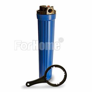 """Contenitore per Filtro Acqua da 20"""" In/Out 1"""" Col. Blue con chiave e pulsante di rilascio pressione (or)"""