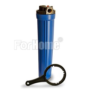 """Contenitore per Filtro Acqua da 20"""" In/Out 3/4"""" Col. Blue con chiave e pulsante di rilascio pressione (or)"""