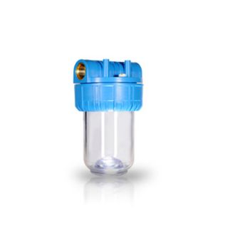 """Water Filter Container 5 """"In / Out 1"""" Brass Col. Transparent ForHome"""
