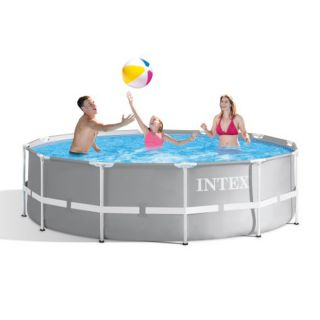 Intex Above Ground Round Prism Frame Pool dim. 366 x 99 cm, 8,592 liters, with filter pump and double ladder