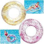 Ciambella Galleggiante Gonfiabile con Glitter per Piscina/Mare Salvagente Intex cm 107x27 (colori vari)