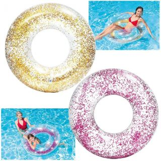 Inflatable Floating Donut with Glitter for Pool / Sea Intex Lifebuoy 107x27 cm (various colors according to availability