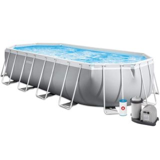 Intex Above Ground Oval Prism Frame Pool dim.610x305x122cm 18202 Liters, Filter, Safety Ladder, Cloth and Cover