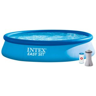 Intex Above Ground Round Inflatable Pool Easy set Pools dim. 396 x 84 cm, 7290 liters, with filter pump