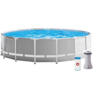 Intex Round Above Ground Pool Prism Frame dim.457x122cm Lt. 16805, Filter Pump, Safety ladder, Cloth, Cover